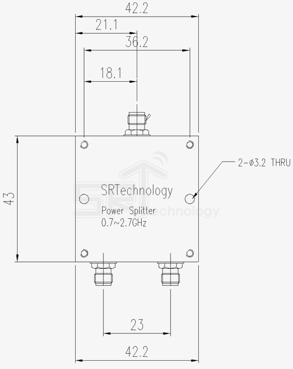 Power Divider Sma 2way 0 74 0ghz